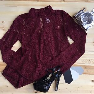 Burgundy Lace Mockneck Dress NWT